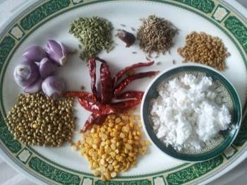 Ingredients to fry and grind