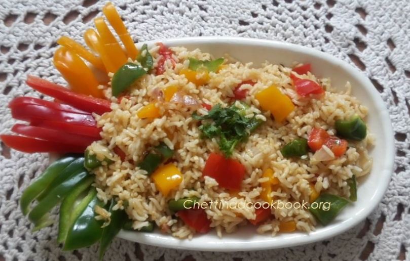 Triple colour bell pepper rice