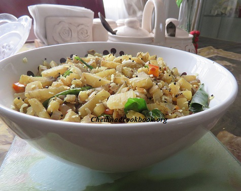 Banana stem Poriyal (stir fry)