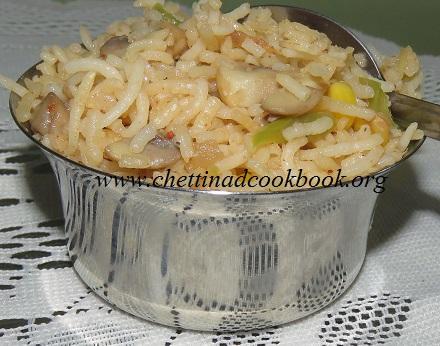Mushroom fried rice / Pulav